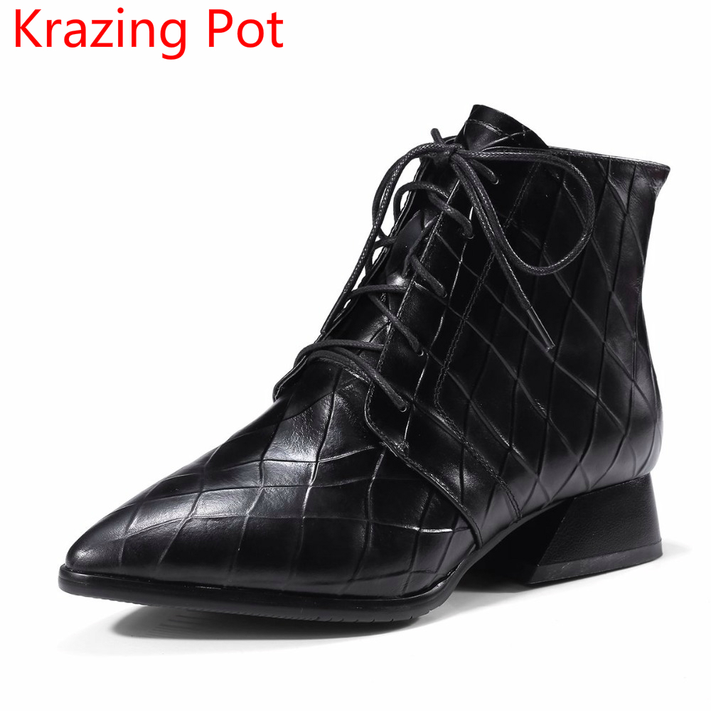 2018 New Arrival Cow Leather Lace Up Fashion Winter Boots Big Size Pointed Toe Thick Heel Runway Women Chelsea Ankle Boots L56 fashion pointed toe lace up mens shoes western cowboy boots big yards 46 metal decoration