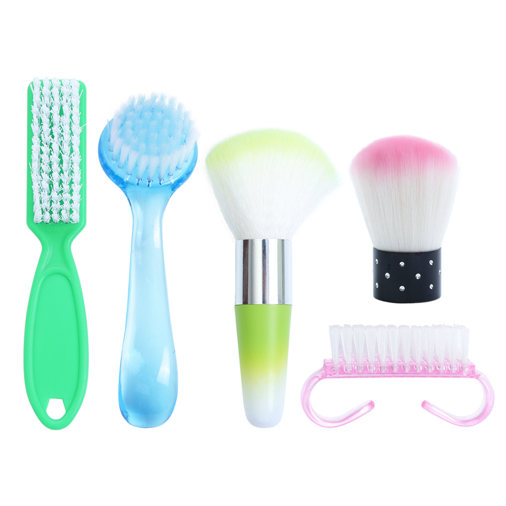 1pcs Plastic Nail Cleaning Brush Powder Dust Remove Scrubbing Cleaner Soft Brush Nail Care File Manicure Angle Clear Tools BE095