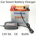 Atacado original 12 V 5A 4-stage Chumbo Ácido Carregador de Bateria inteligente, carregador de bateria de carro, carga do pulso, Desulfator, 100-240 V de entrada