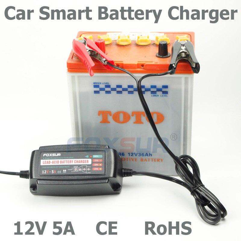 Wholesale original <font><b>12V</b></font> 5A 4-stage smart Lead Acid <font><b>Battery</b></font> Charger, Car <font><b>battery</b></font> charger, pulse charge, <font><b>Desulfator</b></font>,100-240V input