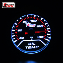Dragon gauge 52 mm Pointer type car Modified Oil temperature meter white Backlight With sensor Oil