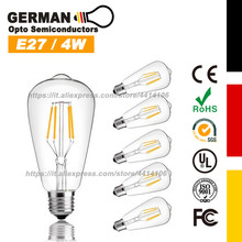 LED Bulb 4W Vintage Filament Light Bulb, 40W Incandescent Equivalent, E27 Medium Base Lamp for Restaurant,Home, 6-Pack
