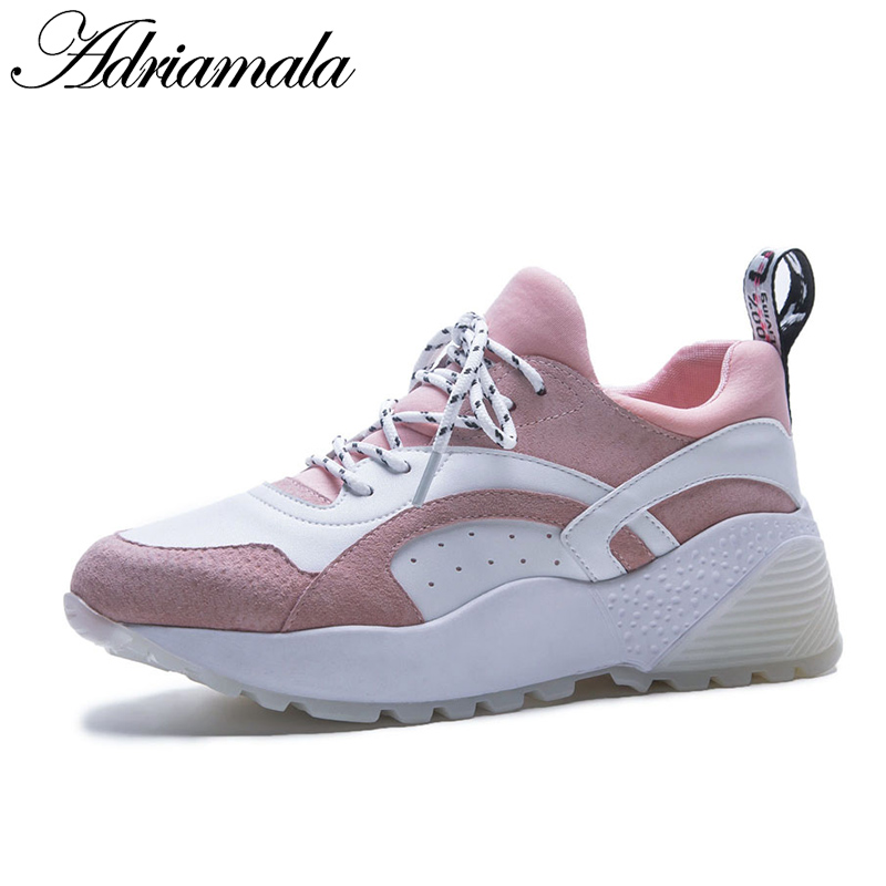 2018 Genuine Leather Women Sneakers Round Toe Lace Up Casual Flat Platform Shoes Brand Designer Fashion Leather Shoes Adriamala