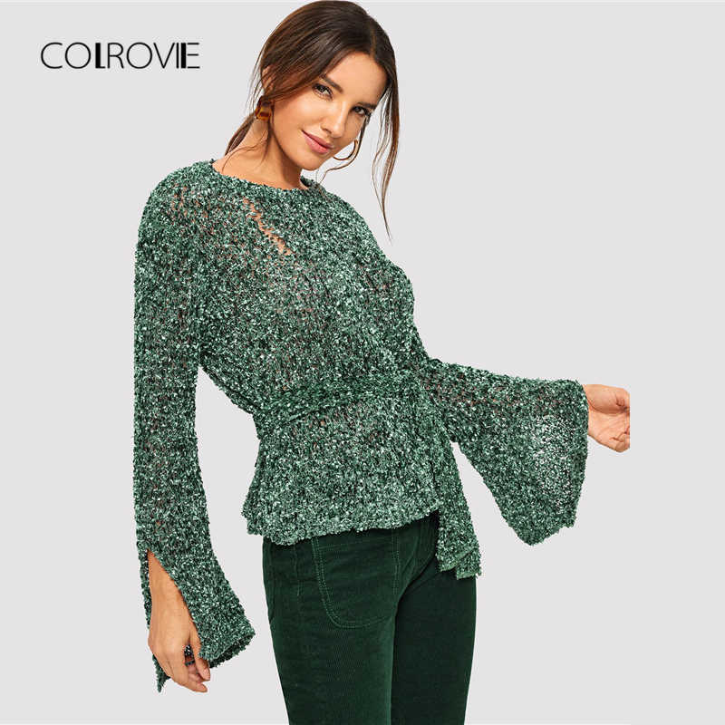 5515eb9aa9883a ... COLROVIE Green Solid Belted Knot Split Elegant Ripped Sweater Women  2018 Fashion Office Pullover Winter Jumper ...