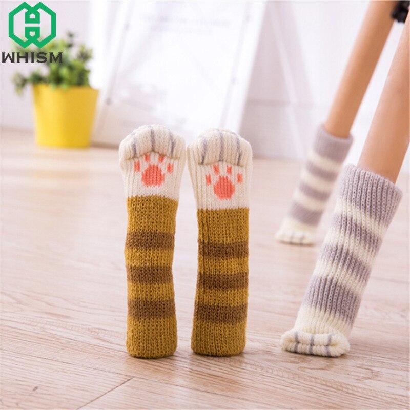 WHISM 4PCS Cat Style Chair Feet Knitting Chair Socks Furniture Feet Table Leg Sleeve Non-slip Table Legs Knit Floor Protectors