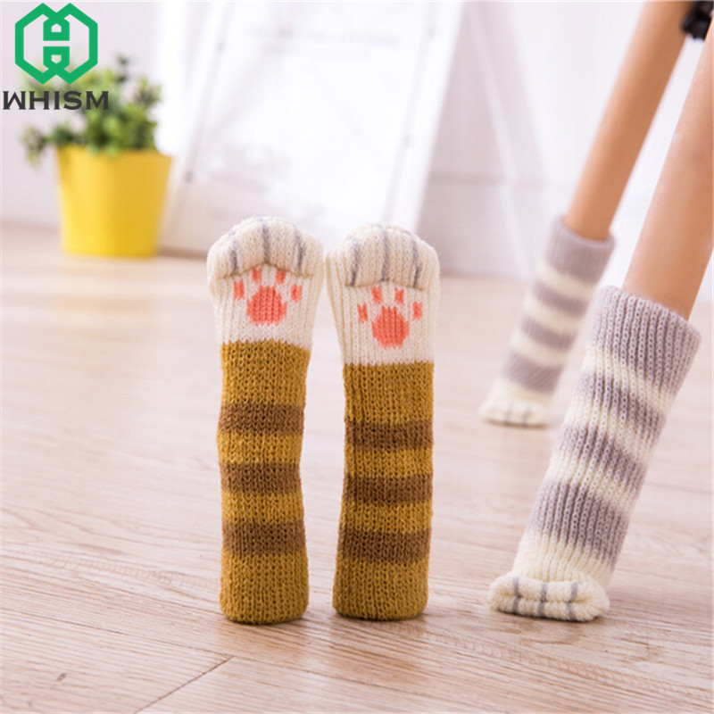 WHISM 4PCS Cat Style Chair Feet Knitting Chair Socks Furniture Feet Table Leg Sleeve Non-slip Table Legs Knit Floor Protectors