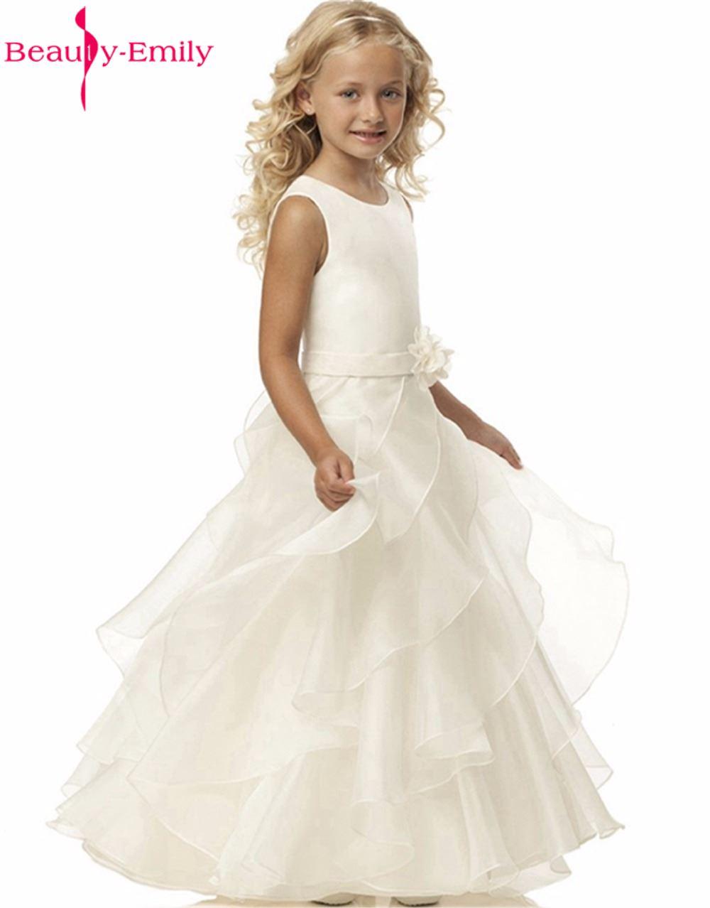 2017 الجمال-إميلي زهرة فتاة فساتين أبيض - فساتين لحفل الزفاف