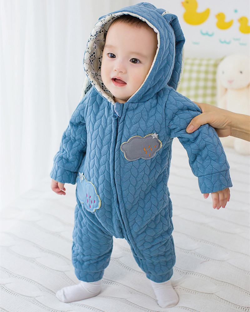 2017 Baby Lucky Rompers Child Winter Thick Chrismas Clothes Newborn Boys Girls Warm Jumpsuit Knitted Sweater Rabbit Ear Hooded 2016 winter new soft bottom solid color baby shoes for little boys and girls plus velvet warm baby toddler shoes free shipping