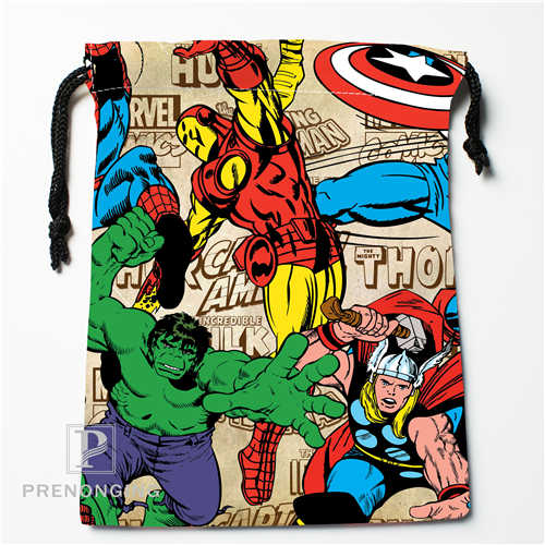 Custom Marvel Cartoon Drawstring Bags Printing Fashion Travel Storage Mini Pouch Swim Hiking Toy Bag Size 18x22cm #171208-15