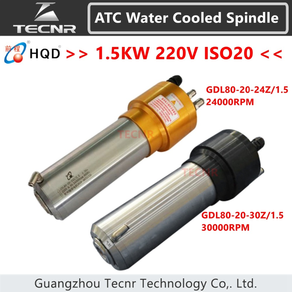 TECNR 1.5KW ATC water cooled spindle motor ISO20 Automatic Tool Change spindle for mental cutting GDL80-20-24Z/1.5 GDL80-20-30 цена
