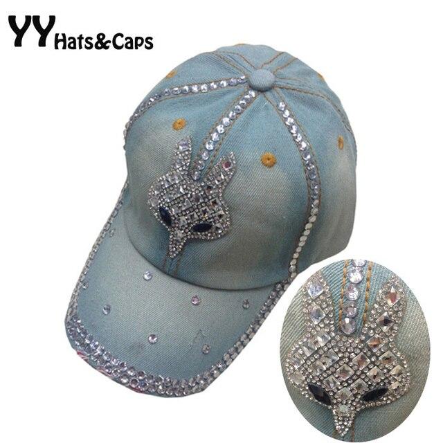 Diamantes con piedras falsas gorra de béisbol para las mujeres sombreros de  verano de moda azul 654a8474427