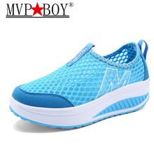 MVP BOY Women's Shoes Casual Sport Fashion Shoes Walking Height Increasing Women Loafers Breathable Air Mesh Swing Wedges цена 2017