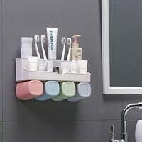 Behogar домашний Автоматический Диспенсер зубной пасты диспенсер настенный Стенды для мойки ванной комнаты Органайзер с 4 шт держатель зубной ...