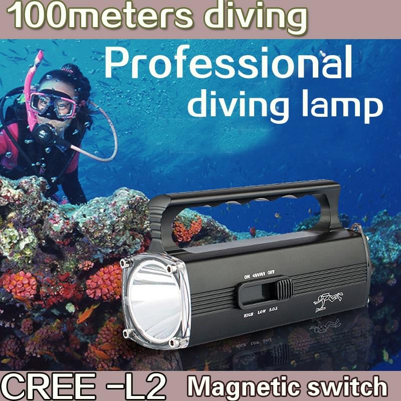 2016 neue LED tragbare Suchscheinwerfer Tauchen wiederaufladbare eingebaute Lithium-Batterie Unterwasser Taschenlampe wasserdichte Taschenlampe