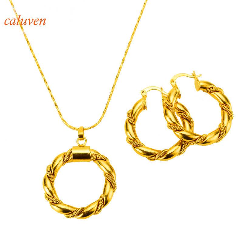 В африканском стиле бижутерия золотого цвета эфиопское ожерелье и серьги ювелирные изделия из золота из Дубаи для Израиля/Судан/арабские/Ближний Восток женщины подарок