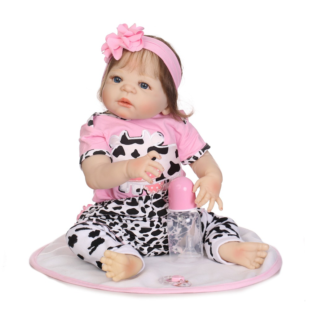 NPKCOLLECTION Full Silicone Body Girl Reborn Doll Alive Baby Bath Toys Lifelike Princess Toddler Fashion Doll Bebe Reborn Menina adorable soft cloth body silicone reborn toddler princess girl baby alive doll toys with strap denim skirts pink headband dolls