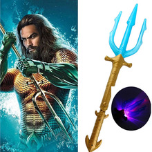 Movie Superhero Aquaman Trident Toy Arthur Curry Orin Weapon Light sword  light up led Flashing Lightstick For Boys Gift