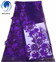 Beautifical french lace fabrics popular purple 3d flowers net lace fabric Fashion rhinestones 3d lace fabric with stones ML1N799