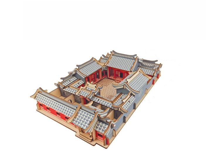 Diy Handmade Wooden Simulation Beijing Courtyard Building Model 3d Toy Three-dimensional Wooden Jigsaw Puzzle Toys for Children