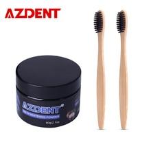 AZDENT 60g Zahnaufhellung Pulver Premium Kokosnuss Aktivierte Schwarze Zahnpasta + 2 Stücke Bambuskohle Zahnbürste Fleckentfernung