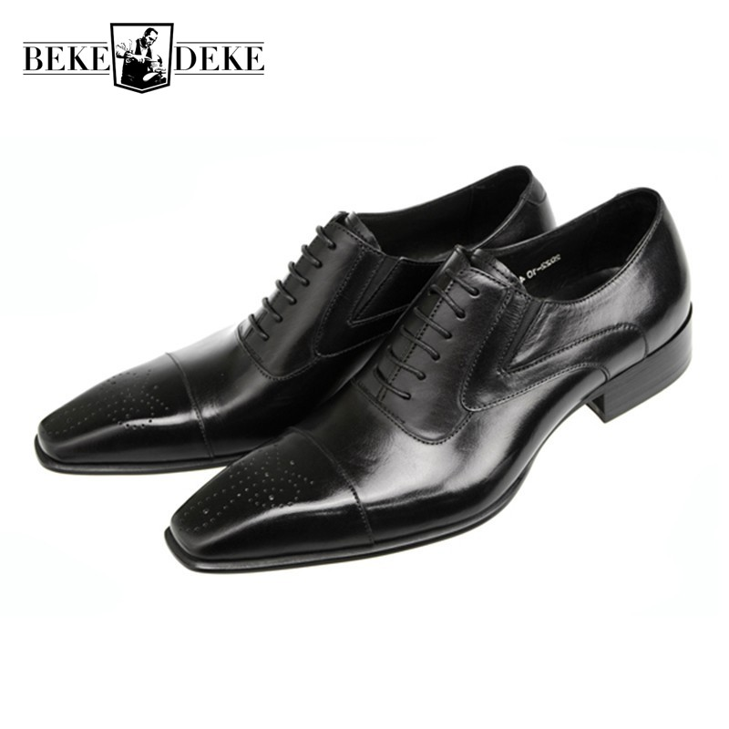 Men Dress Shoes Genuine Leather Black Italian Fashion Business Oxford Shoes 2018 Brogue Wing Tip Wedding Footwear Zapatos Hombre farvarwo brogue shoes mens dress genuine leather oxford black