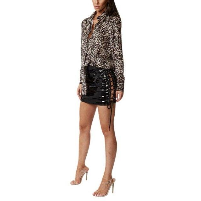 f43c07601db Spring Lace Up Leather Skirt Cross High Waist Bodycon Mini Skirt Side Split  Pencil Skirts