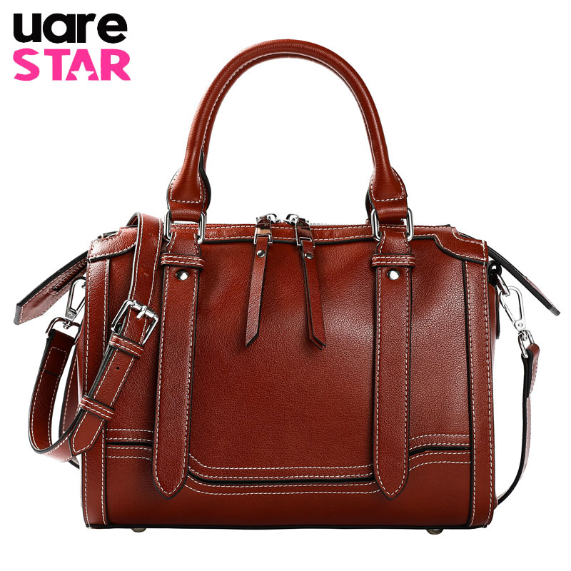 2018 Fashion Women Leather Shoulder Bag Boston Lady Handbags Women's Genuine Leather Handbags Large Capacity Ladies Tote Bags