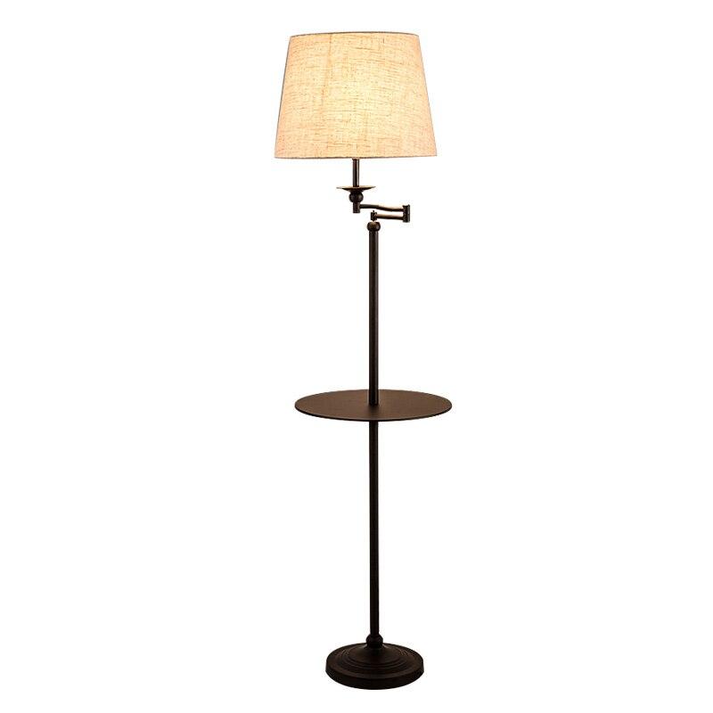 Lampadaire Design moderne avec table en bois lampadaire vertical en métal Standlight salon chambre canapé noir blanc abat-jour en tissu