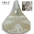 I Bay U Real Photos Bridal Veils 5M Luxury Handmade Flowers Cathedral Wedding Veil Beaded Bridal Veils Wedding Accessories