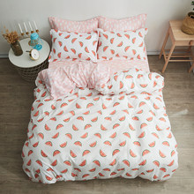Watermelon fruit bedding sets pink quilt cover Bed Linen pillow cases white cloud bed sheets twin full queen king size(China)