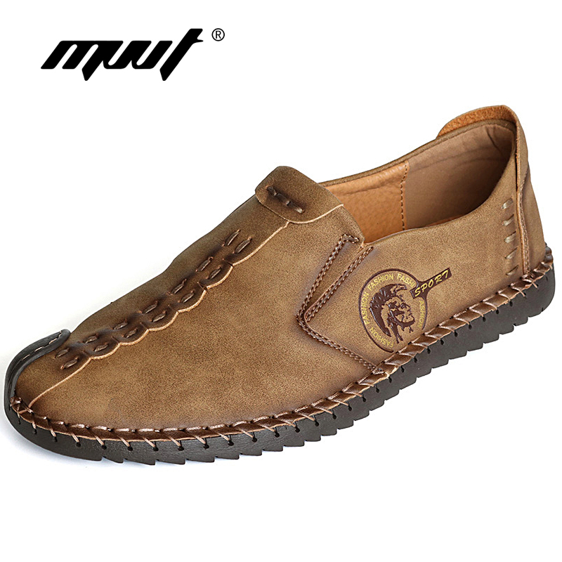 Clássico Dos Homens Confortáveis Sapatos Casuais Mocassins Homens Sapatos de Qualidade Sapatos De Couro de Divisão Dos Homens Apartamentos Sapatos Mocassins Venda Quente Plus Size