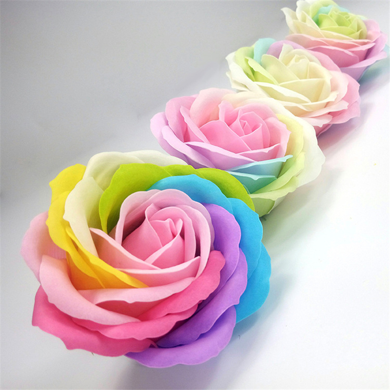 8 Colors Colorful Heart-Shaped Rose Soap Flower Wedding Party Gift Handmade Petal Decor Bath Red White Blue Pink Purple Romantic