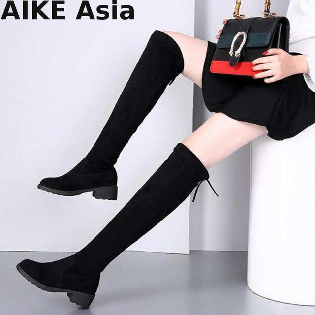 2019 Yeni Sıcak Kadın Çizmeler Sonbahar Kış Bayanlar Moda Düz Dipli Ayakkabı Diz Üzerinde Uyluk Yüksek Süet Uzun Botas femininas