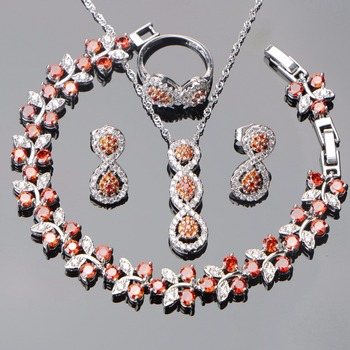 Wedding Jewelry Sets Women Costume Bridal 925 Sterling Silver Jewelry