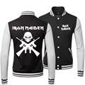 2015 New Autumn Cotton Fashion Thick Coats Tracksuit Sportswear Black Iron Maiden Rock Band Baseball Warm Winter Jacket Men 3XL