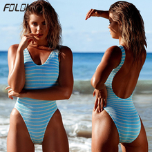 One Piece Swimsuit Women Swimwear Bathing Suit Swim Suit Bandge High Cut Monokini Sexy Backless trikini Stripe Bodysuit