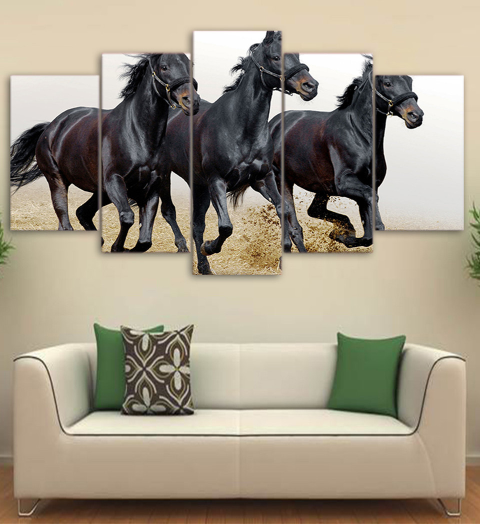 Online shop 5 piece canvas art black horses running canvas online shop 5 piece canvas art black horses running canvas painting wall hanging stickers for home or sofa background decor free shipping aliexpress amipublicfo Gallery