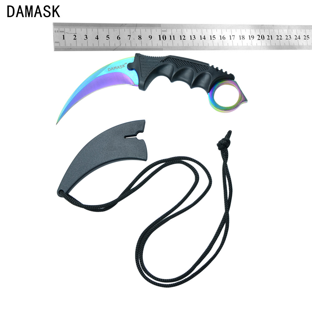 Damask Brand CS GO Counter Strike Karambit Fixed Blade Knife Stainless Steel Blade Plastic Handle Knives Outdoor Camping Tools