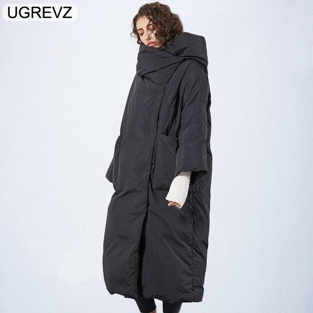 أزياء أنيقة النساء سترة 2019 الشتاء سترة المرأة ستر القطن وسادة مبطنة الدافئة الإناث طويل معطف بوتيك الملابس قمم
