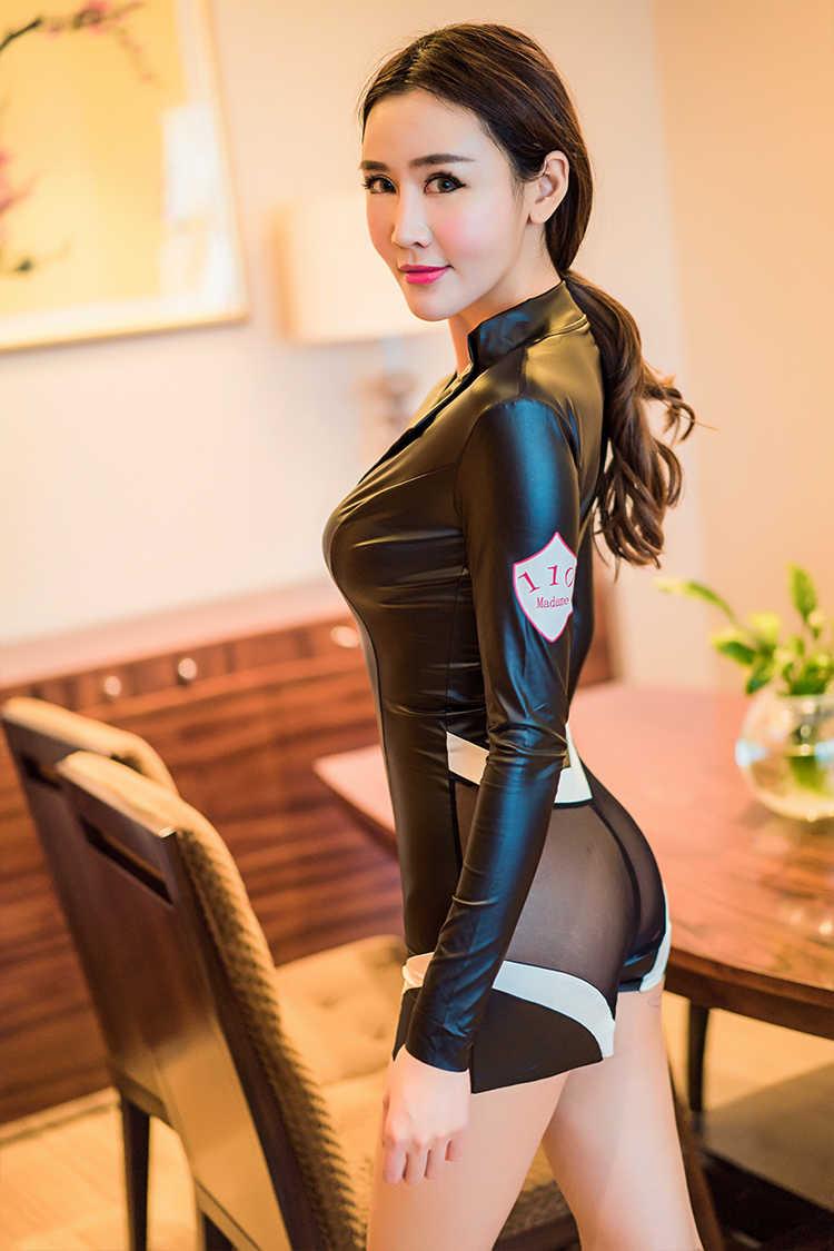 Шанхай история женщины офицер полиции форма костюмы на Хэллоуин для Для женщин сексуальное женское белье Для женщин костюмы Косплэй Эротическая одежда из искусственной кожи