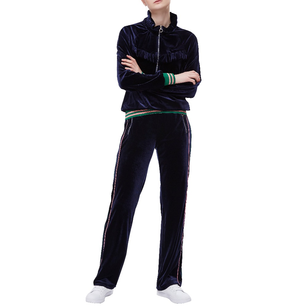 74450af0e 2018 New Womens Tracksuit Casual Suit Velvet 2 Piece Sets Tops+Pants Female  Loose Long Sleeve Stripped Sportswear Outfits
