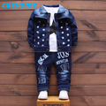 3PCS/Set Baby Boys Clothing Set Toddler Kids Denim Bomber Jacket+Long Sleeve T Shirt+Casual Jeans Pants Outfits Suit 2017 Spring