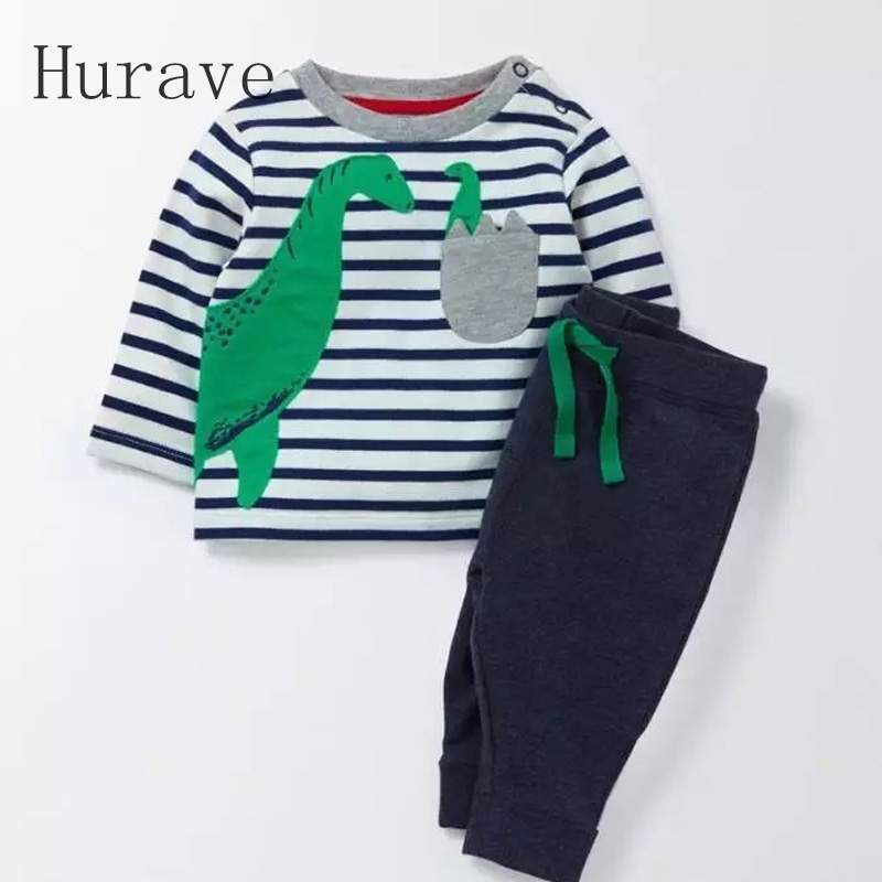 Hurave 2017 Spring Autumn Children Clothes Dinosaur Printed Cotton Suit Shirt+Pants 2 Pcs Casual Clothing Set Baby Boy Sets 2pcs set cotton spring autumn baby boy girl clothing sets newborn clothes set for babies boy clothes suit shirt pants infant set