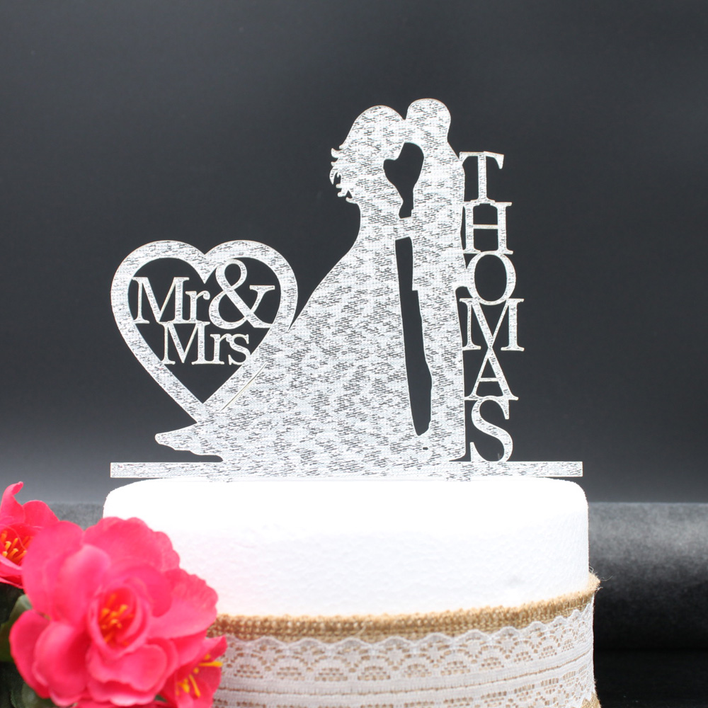 Modern Wedding Cake Topper with Last Name,Bride and Groom Silhouette ...
