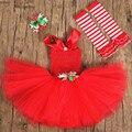 Новый Красный Девочки Рождество Младенец Платья Цветы Princess Tutu Платья Baby Дети Косплей Костюм Кристмас Партии Платья Производительность