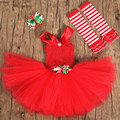 New Red Girls Christmas Dress Infant Flowers Princess Tutu Dress Baby Kids Cosplay Christmas Costume Party Performance Dresses
