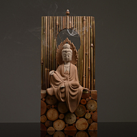 Creative Home Art Backflow Incense Burner Vintage Ceramic Buddha Unique Wooden Base Office Decoration Decor for Birthday Gifts