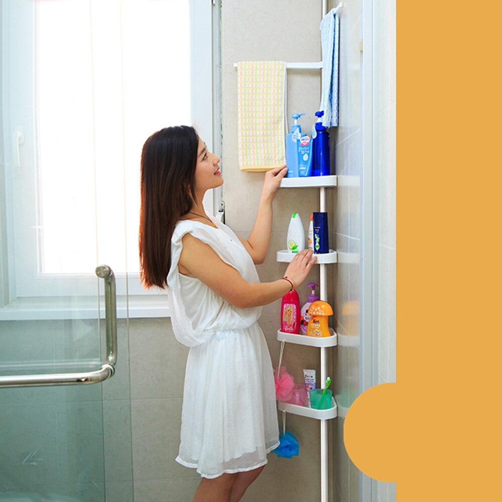 ikayaa height adjustable metal bathroom corner shower caddy organizer bathtub storage shelf organizador for home us