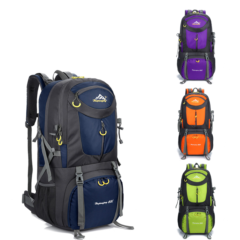 60L 40L 50L Waterproof Polyester Outdoor Travel Backpack Rucksack Sport Bag With Rain Cover Camping Hiking