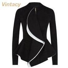 Vintacy women jacket ruffles vintage black peplum coat autumn winter fashion tops gothic women coats ol style work suit jackets